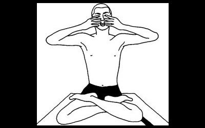 Figura in procinto di eseguire mula bandha